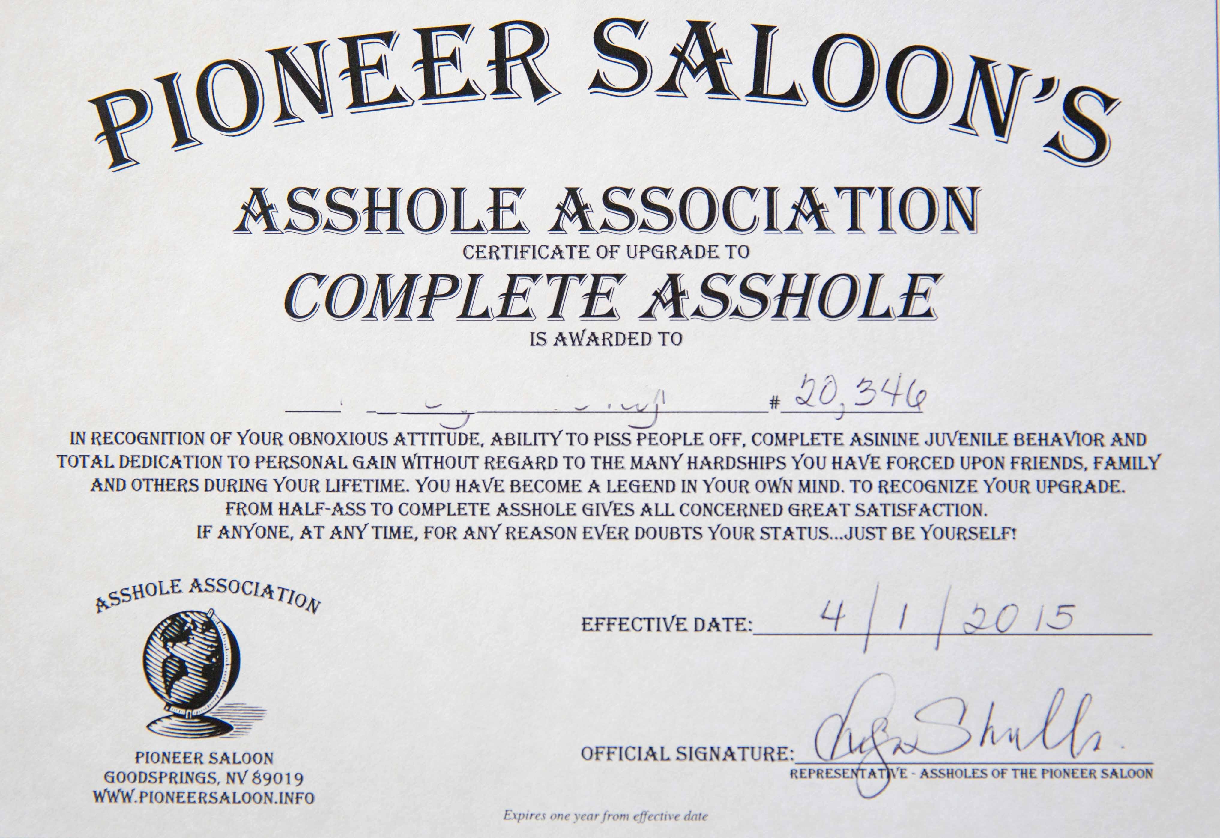 Certified public asshole